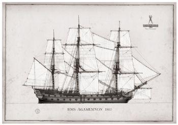 1805 HMS Agamemnon pen ink study